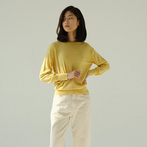 COLOR ROUND KNIT (Yellow)
