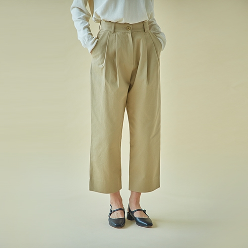 TWO TUCK COTTON PANTS (Beige)