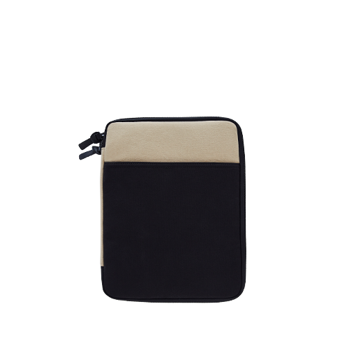 CANVAS IPAD POUCH (11) (Beige-Black)